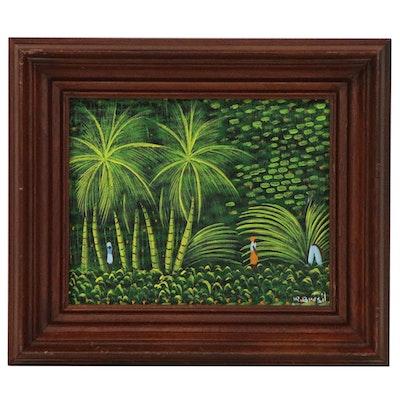 Henri Robert Bresil Haitian Folk Oil Painting of Figures in Jungle