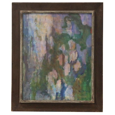 Oscar Murillo Abstract Expressionist Style Oil Painting, Late 20th Century