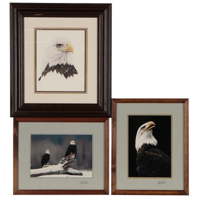 Offset Lithograph and William Ervin Photographs with Bald Eagles, Circa 1980