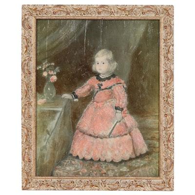 """Embellished Halftone after Diego Velázquez """"The Infanta Margarita Teresa"""""""