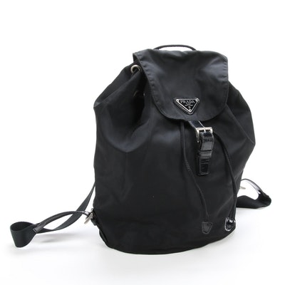Prada Black Tessuto Nylon and Leather Backpack Purse