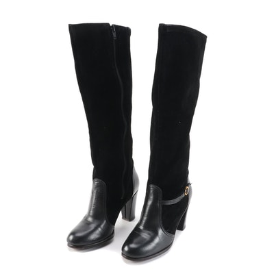 Black Aniline Leather and Suede Knee-High Boots