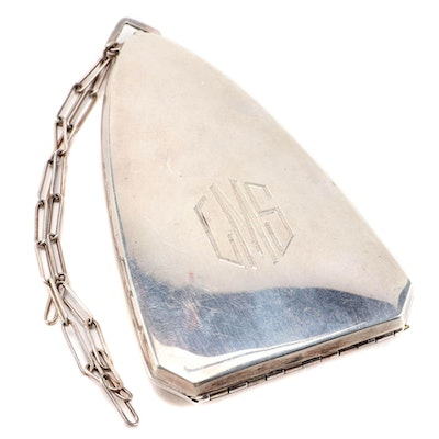 Sterling Silver Cathedral Shaped Compact Dance Purse, Early 20th Century
