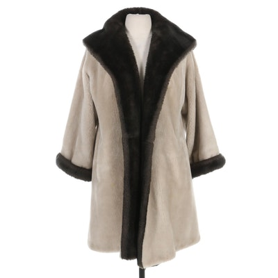 Borgana Borg Deluxe Faux Fur Shawl Collar Coat, Vintage