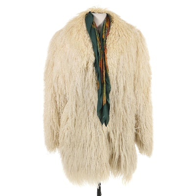 Tibetan Lamb Fur Coat with Silk Scarf, Vintage