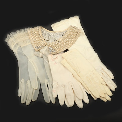 Beaded Collar And Gloves, Mid-20th Century
