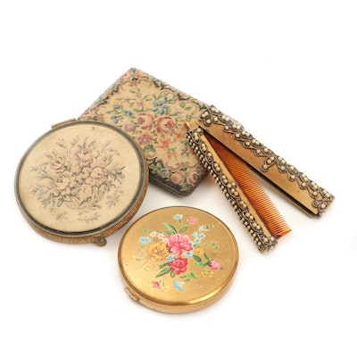 Vintage Romantic Style Compacts and Comb