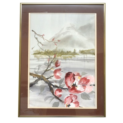 Watercolor Painting of Japanese Landscape
