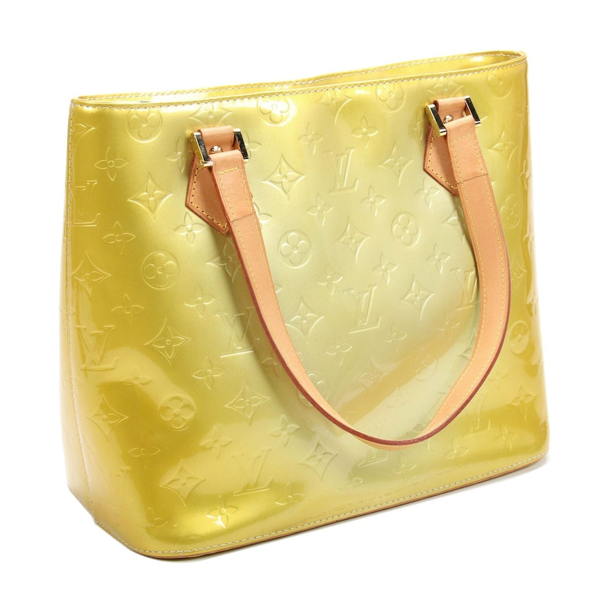 Louis Vuitton Houston Tote Bag in Lime Monogram Vernis and Vachetta Leather