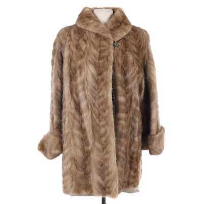 Herringbone Mink Fur Coat with Turned Back Cuffs, Vintage