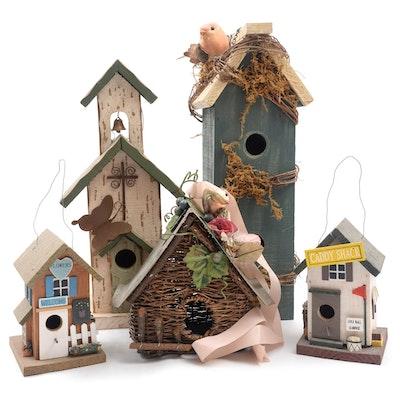 Handmade Wooden and Wicker Decorative Birdhouses