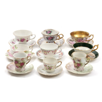 Royal Halsey and Other Hand-Painted Porcelain Cups and Saucers