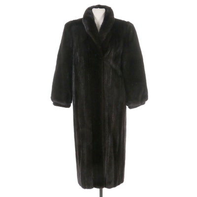 Blackglama Dark Ranch Mink Fur Coat with Banded Cuffs from Koslow's