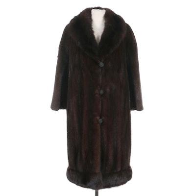 Sable Fur Trimmed Mink Fur Coat with Shawl Collar, Vintage