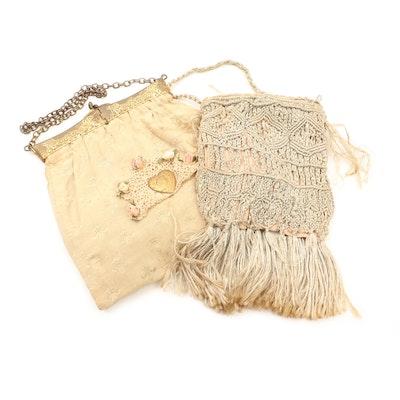 Crochet Embellished Fleur de Lis Hinged Frame Purse and Macramé Purse, Vintage