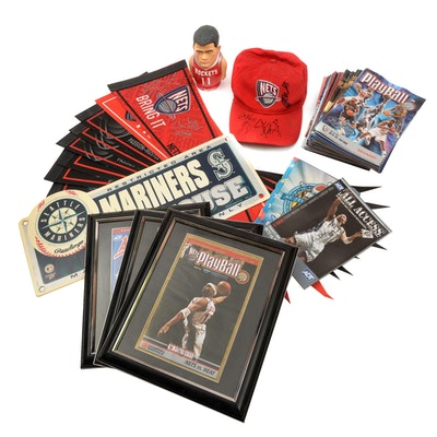 Jason Kidd and Vince Carter Nets Signed Prints, Pennant, NBA Cap, More