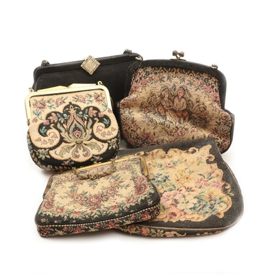 Petit Point Needlepoint, Tapestry Style and Textile Purses, Vintage