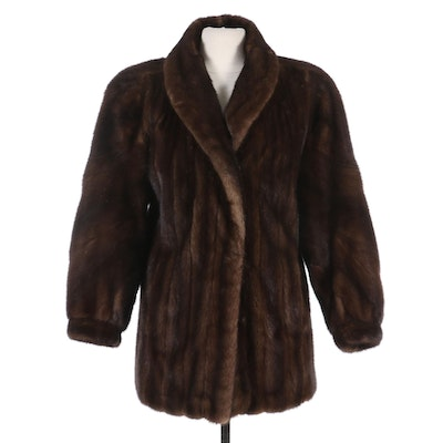Mahogany Mink Fur Jacket with Banded Cuffs, Vintage