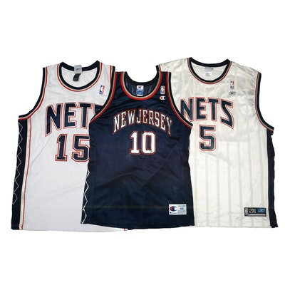 Vince Carter and Sam Cassell Signed New York Nets NBA Basketball Jerseys