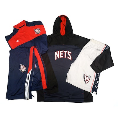 Adidas New York Nets NBA Basketball Fan Apparel Including Warm-Up and Hoodie