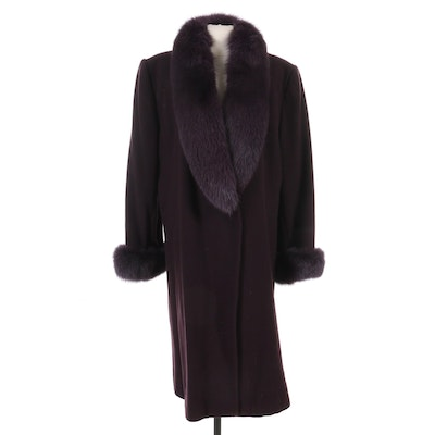Marvin Richards Dyed Fox Fur Trimmed Wool Coat in Aubergine