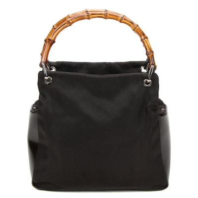 Gucci Bamboo Handle Bag in Nylon and Patent Leather