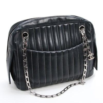 Chanel Mademoiselle Black Lambskin Shoulder Bag with Contrast Stitching