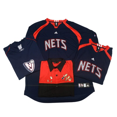Nets Adidas and Reebok NBA Basketball Team Apparel, Warm-Up, Shirt and Pins