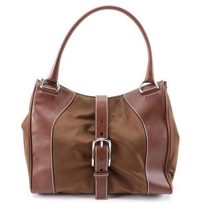 Prada Brown Nylon and Saffiano Leather Shoulder Bag with Contrast Stitching
