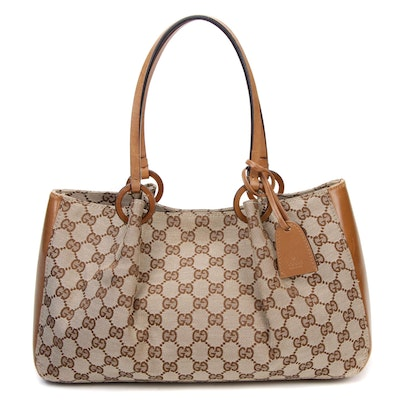 Gucci GG Canvas and Tan Leather Satchel Bag