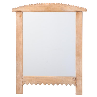 Primitive Style Carved Pine Wall Mirror