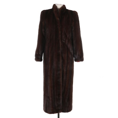 Mink Fur Full-Length Coat with Banded Cuffs