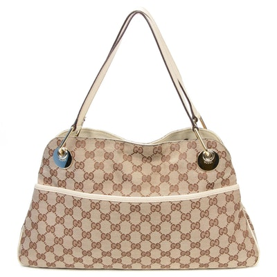 Gucci GG Canvas and Beige Leather Shoulder Bag
