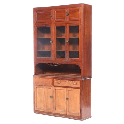 American Pine Two-Piece Cupboard, Early 20th Century