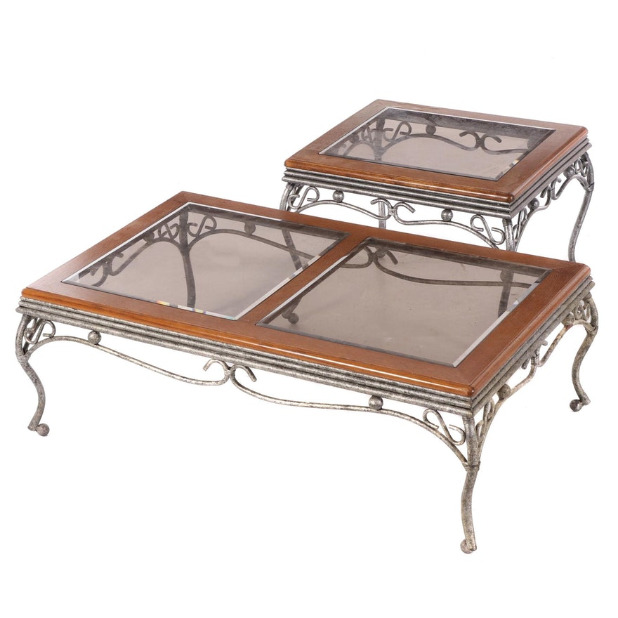 Scrolled and Patinated Metal Coffee and Side Table with Oak and Glass Tops