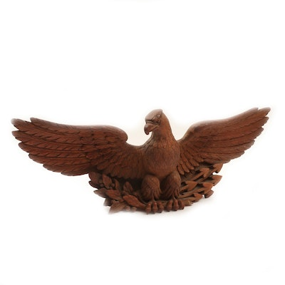 Centennial Era Carved Wood Bald Eagle Figure