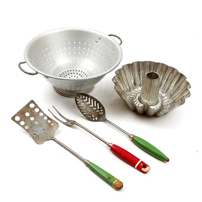 Wear-Ever Aluminum Colander and Other Vintage Kitchenware, Mid-20th Century