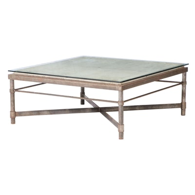 Industrial Style Patinated Metal, Concrete, & Glass Coffee Table, Possibly SWAIM