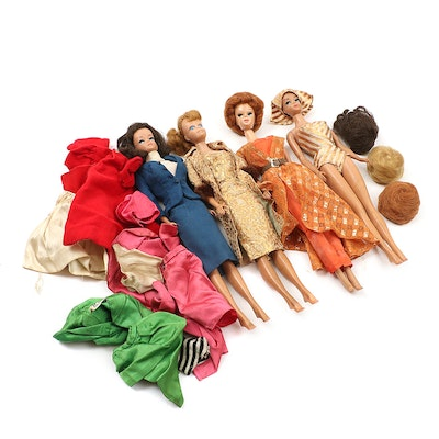 Mattel Barbie and Midge Dolls with Clothing and Accessories, 1950s-1960s