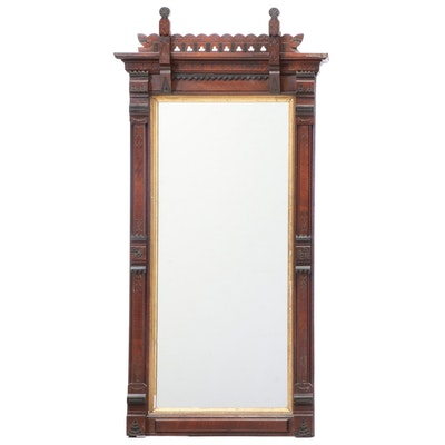 Victorian Walnut and Parcel-Ebonized Pier Mirror, Late 19th Century