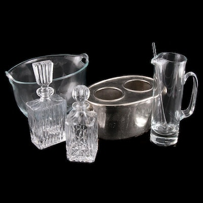 Krosno Ice Bucket and Other Barware, Late 20th Century