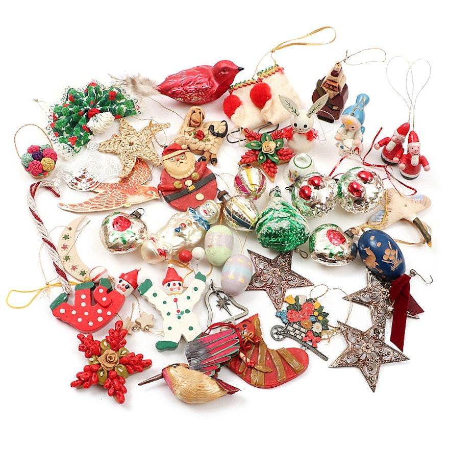 Fabric, Glass and Wood Christmas Ornaments, Some Handmade