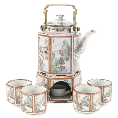 Chinese Hand-Painted Porcelain Teapot, Cups, and Stand