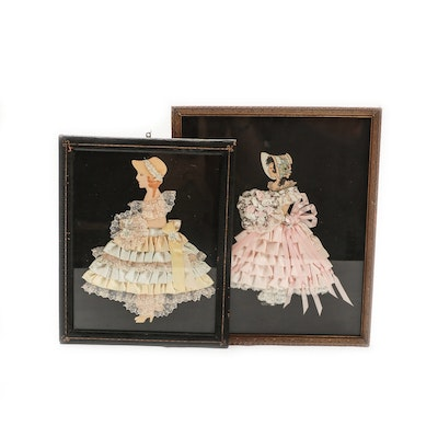 Ribbon Embellished Paper Dolls in Frames, 1920s