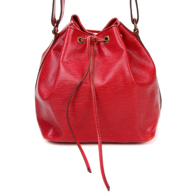 Louis Vuitton Petit Noe Bucket Bag in Red Epi Leather