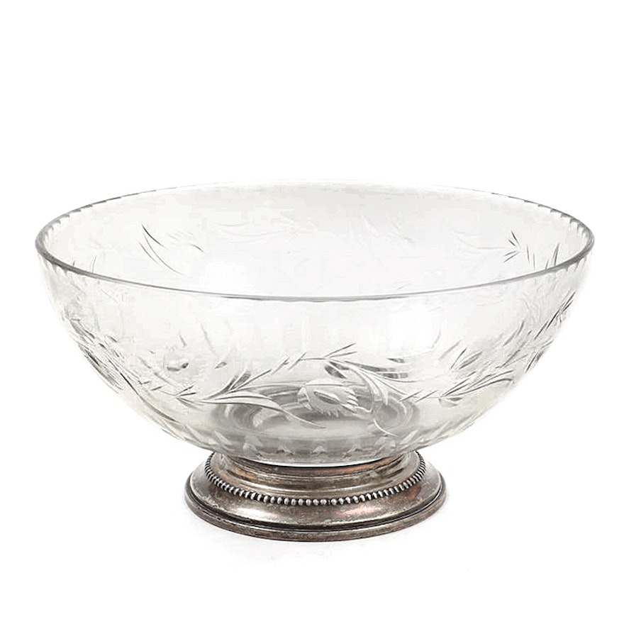 Etched Glass Serving Bowl with Sterling Silver Foot