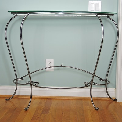 Wrought Metal and Glass Top Console Table