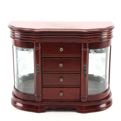Mahogany Stained Wood and Etched Glass Jewelry Chest Organizer