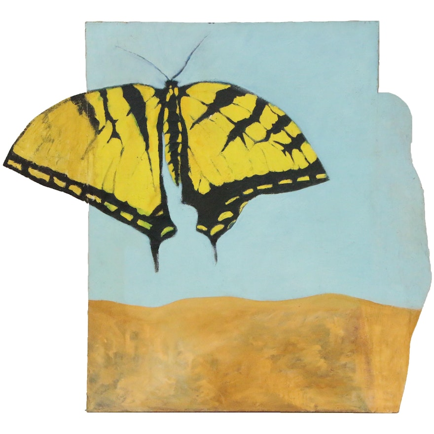 Oscar Murillo Large-Scale Oil Painting of a Butterfly, Late 20th Century