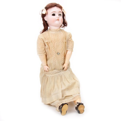 German Hand-Painted Bisque Jointed Doll, 1906